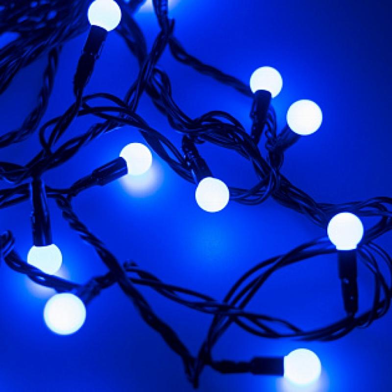 Arlight Светодиодная гирлянда ARD-BALL-CLASSIC-D13-5000-BLACK-50LED BLUE (230V, 3.5W)