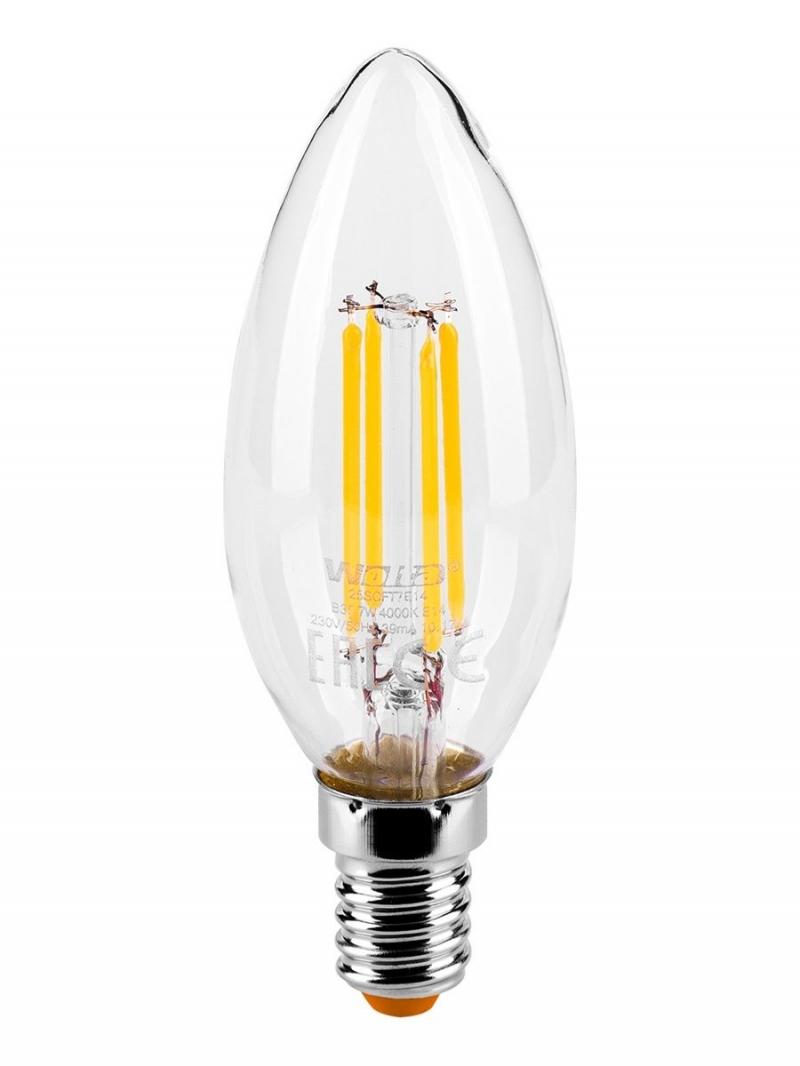 Лампа LED  WOLTA FILAMENT  C35 7Вт 730Лм E14 3000K 1/10/50