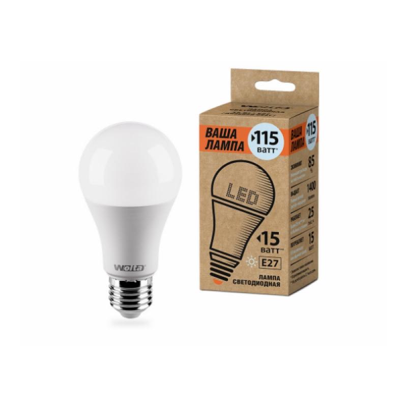 Лампа светодиодная 25S60BL15E27-P 15W 230В Е27 4000К 1400Lm Wolta