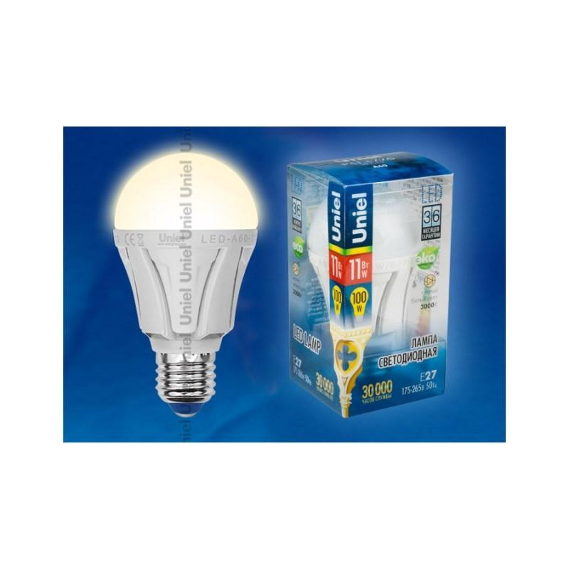 Светодиодная лампа ЛОН Uniel Palazzo LED-A60-11W/WW/E27/FR ALP01WH