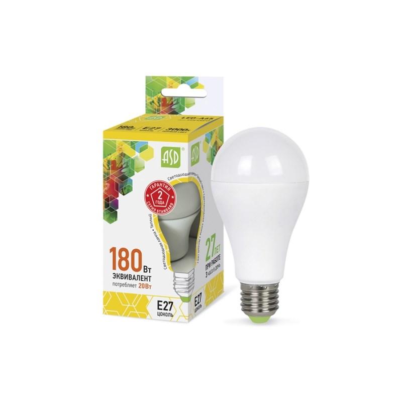 Лампа светодиодная LED-A60-standard 20W 230В Е27 3000К 1800Lm  ASD