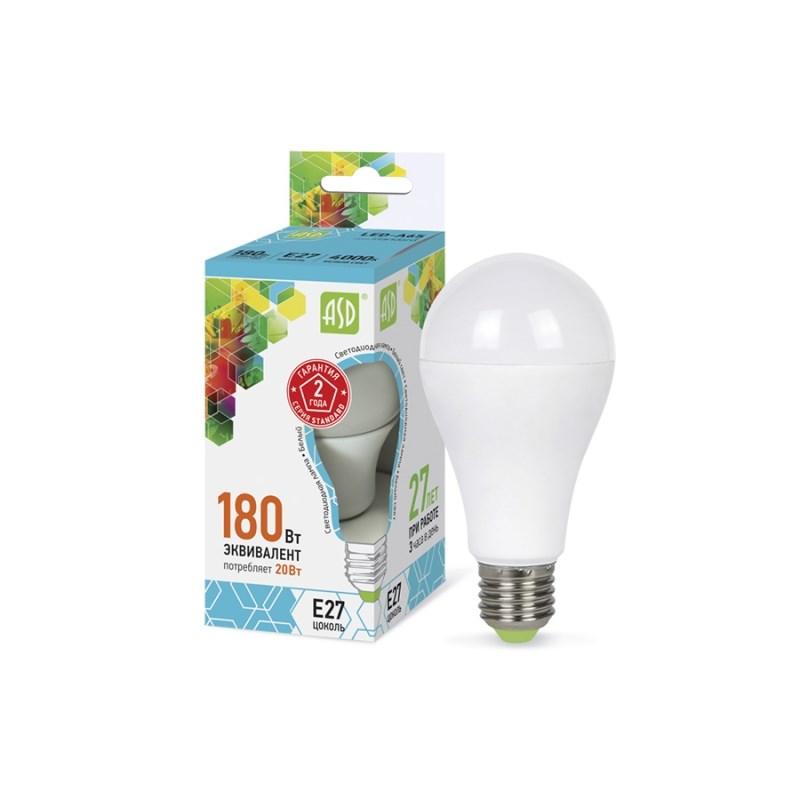 Лампа светодиодная LED-A60-standard 20W 230В Е27 4000К 1800Lm  ASD