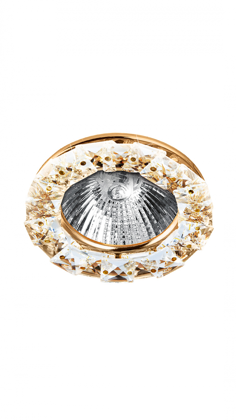 Светильник встраиваемый кристалл MR16 GU5.3 прозрачный/золото 55x87MM