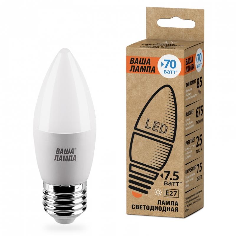 Лампа LED ВАША ЛАМПА C37 7.5Вт 675Лм Е27 3000К   1/50