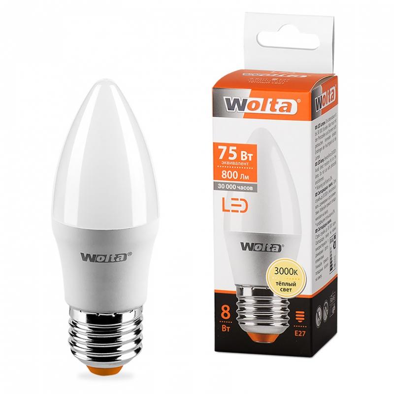 Лампа LED WOLTA C37 8Вт 800Лм Е14  3000К  1/50