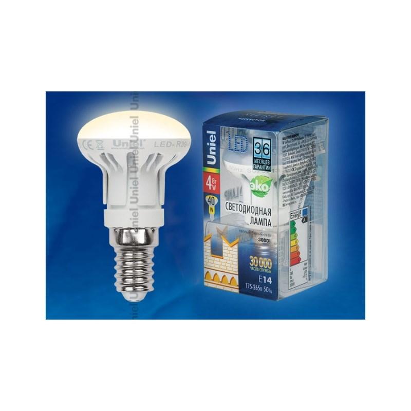 Лампа светодиодная Uniel Merli рефлектор LED-R39-4W/WW/E14/FR ALM01WH