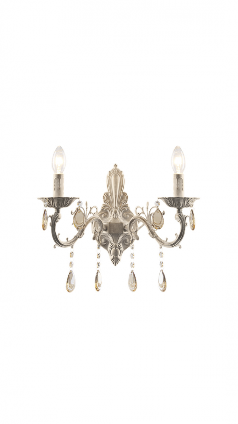 Светильник настенный Rafaelo Тип ламп E14*60W*2 материал: металл,стекло, хрусталь W380*H340*E190