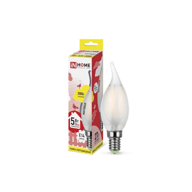 Лампа светодиодная LED-СВЕЧА НА ВЕТРУ-deco 5W 230В Е14 3000К 450Lm матовая IN HOME