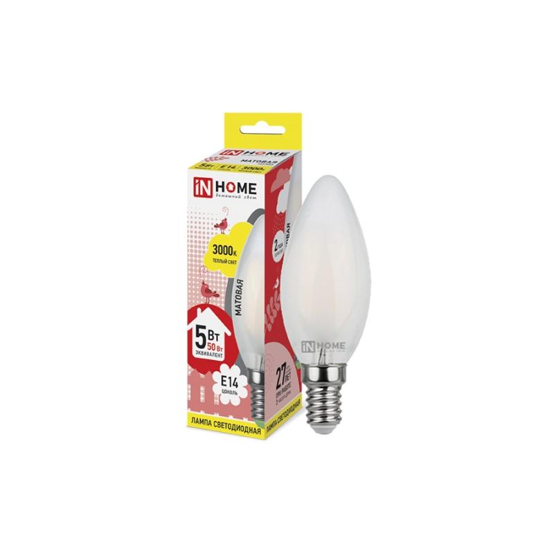 Лампа светодиодная LED-СВЕЧА-deco 5W 230В Е14 3000К 450Lm матовая IN HOME