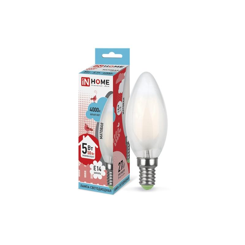 Лампа светодиодная LED-СВЕЧА-deco 5W 230В Е14 4000К 450Lm матовая IN HOME