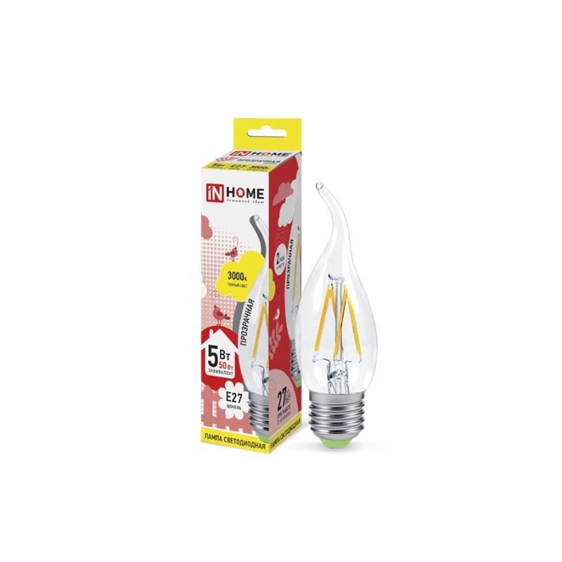 Лампа светодиодная LED-СВЕЧА НА ВЕТРУ-deco 5W 230В Е27 3000К 450Lm прозрачная IN HOME