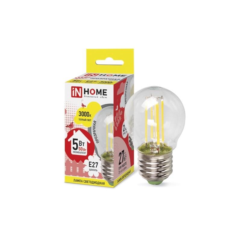 Лампа светодиодная LED-ШАР-deco 5W 230В Е27 3000К 450Lm прозрачная IN HOME