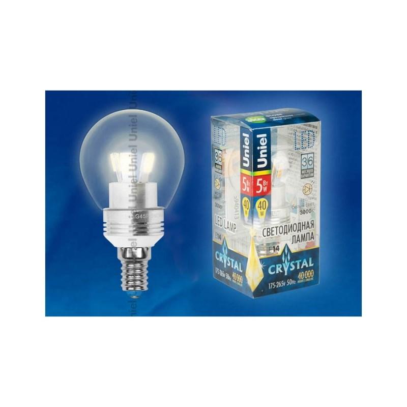 Светодиодная лампа шар Uniel Crystal Silver LED-G45P-5W/WW/E14/CL ALC02SL
