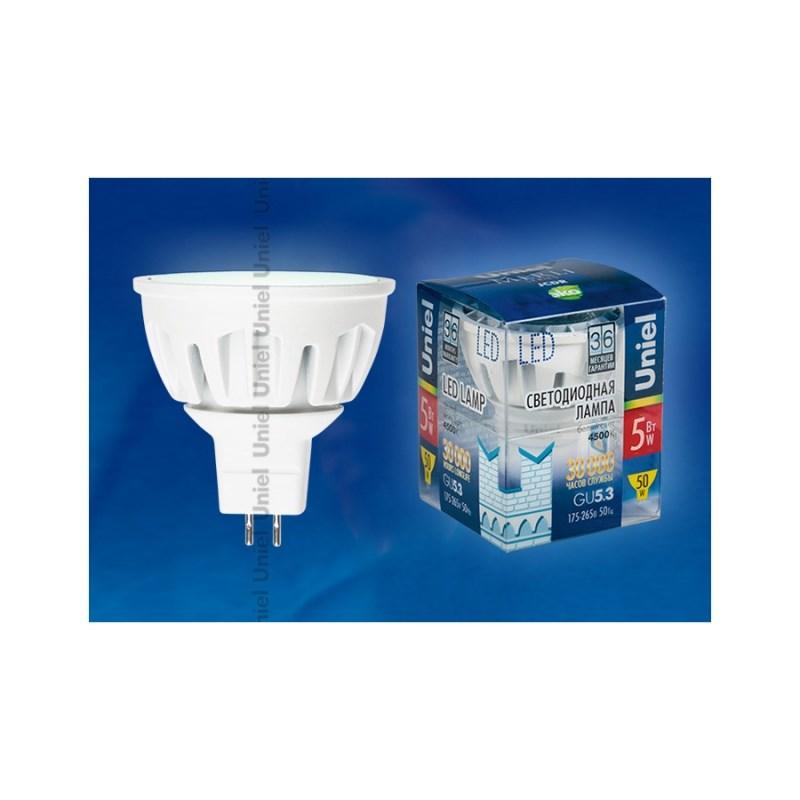 Лампа светодиодная Uniel Merli 12V софит LED-MR16-5W/NW/GU5.3/FR ALM01WH