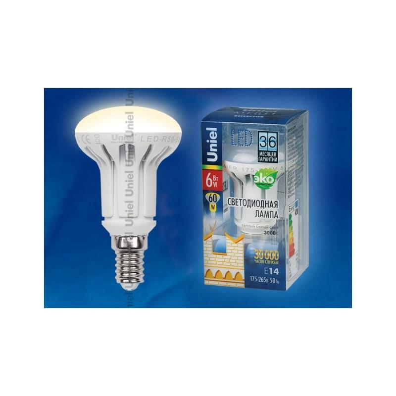 Лампа светодиодная Uniel Merli рефлектор LED-R50-6W/WW/E14/FR ALM01WH
