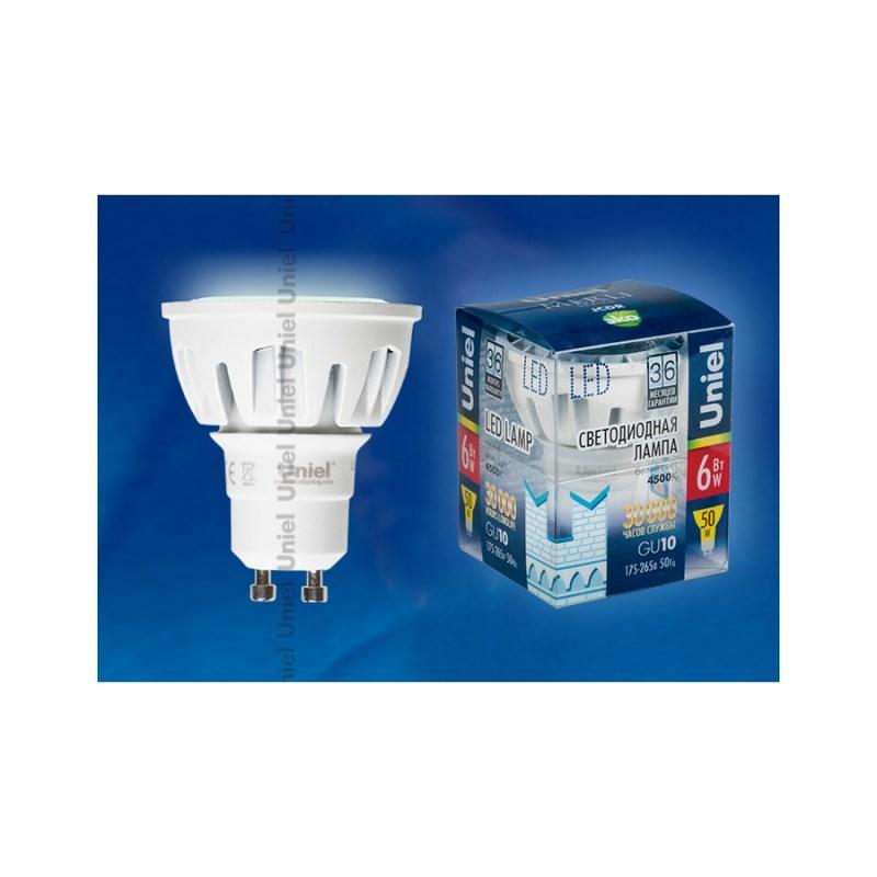 Лампа светодиодная Uniel Merli софит LED-JCDR-6W/NW/GU10/FR/38D ALM01WH