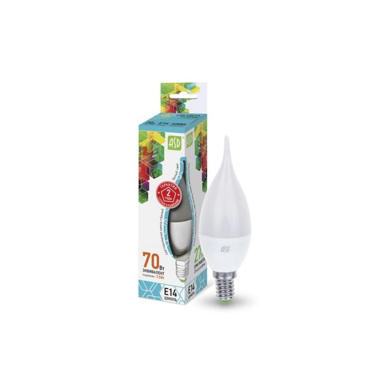 Лампа светодиодная LED-СВЕЧА НА ВЕТРУ-standard 7.5Вт 230В Е14 4000К 675Лм ASD
