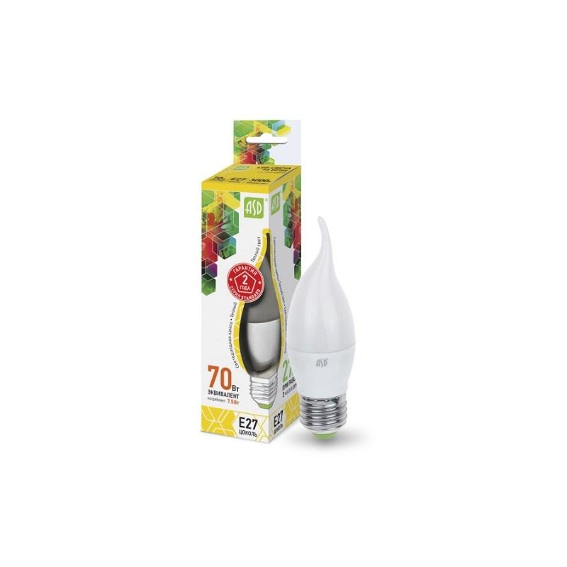 Лампа светодиодная LED-СВЕЧА НА ВЕТРУ-standard 7.5Вт 230В Е27 3000К 675Лм ASD