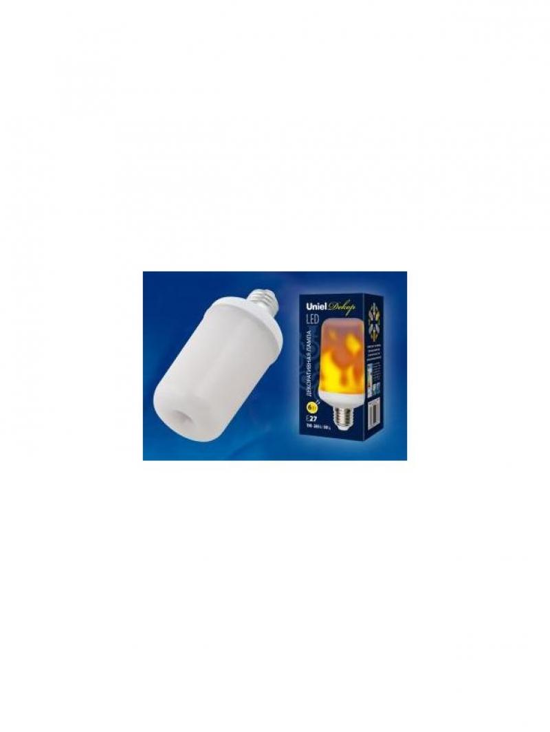 Лампа светодиодная декоративная LED-L60-6W/FLAME/E27/FR PLD01WH с типом свечения Эффект пламени