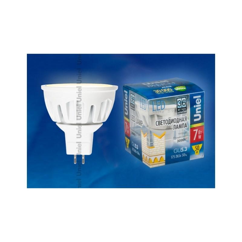 Лампа светодиодная Uniel Merli софит LED-JCDR-7W/WW/GU5.3/FR ALM01WH