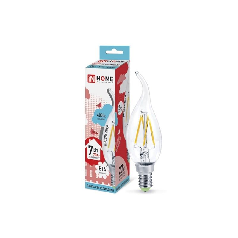 Лампа светодиодная LED-СВЕЧА НА ВЕТРУ-deco 7W 230В Е14 4000К 630Lm прозрачная IN HOME