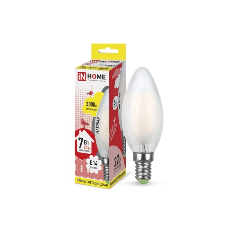 Лампа светодиодная LED-СВЕЧА-deco 7W 230В Е14 3000К 630Lm матовая IN HOME