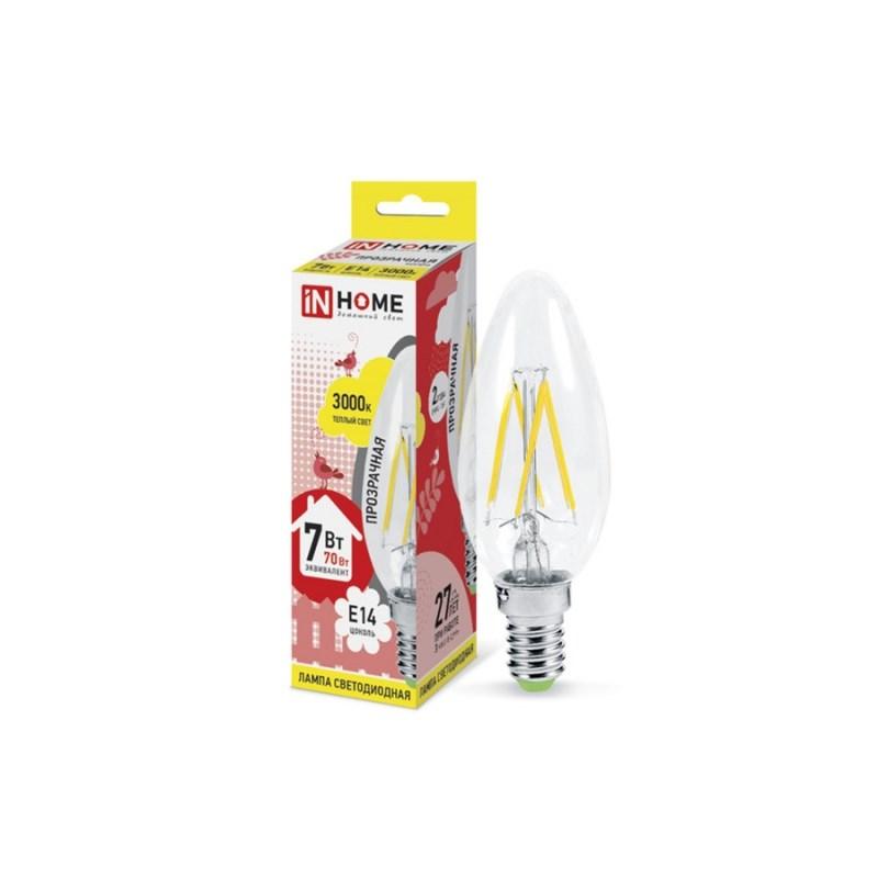 Лампа светодиодная LED-СВЕЧА-deco 7W 230В Е14 3000К 630Lm золотистая IN HOME