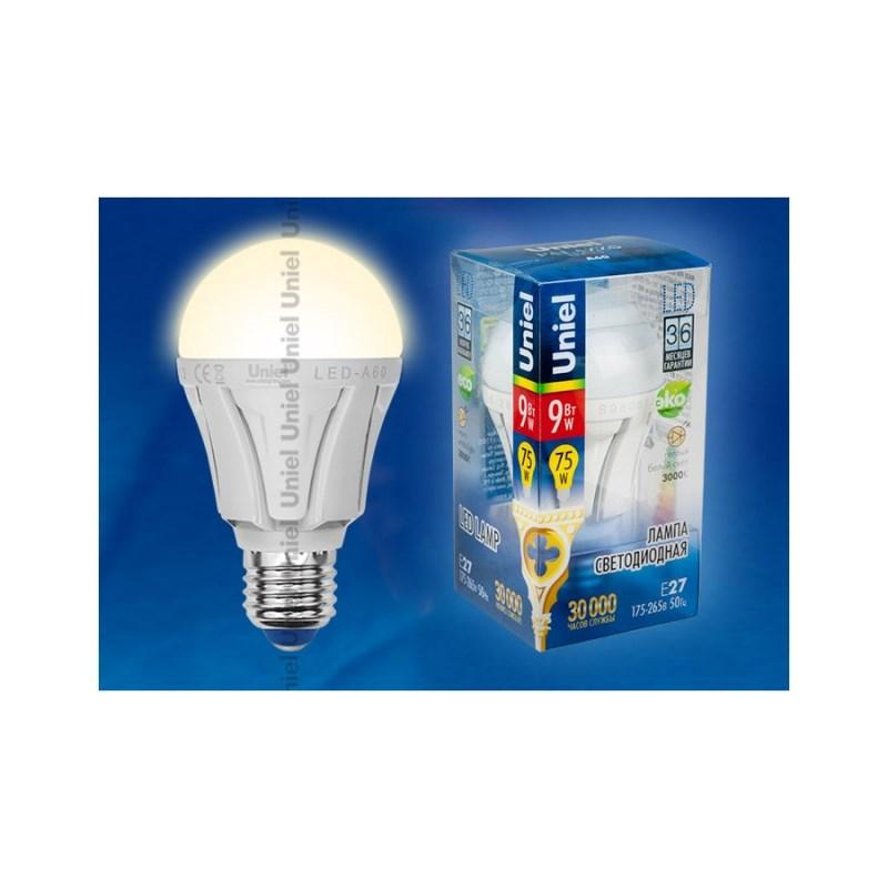 Светодиодная лампа ЛОН Uniel Palazzo LED-A60-9W/WW/E27/FR ALP01WH