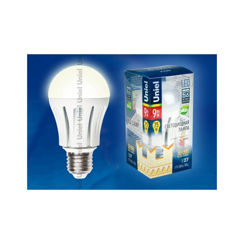 Лампа светодиодная Uniel Merli LED-A60-9W/WW/E27/FR ALM01WH