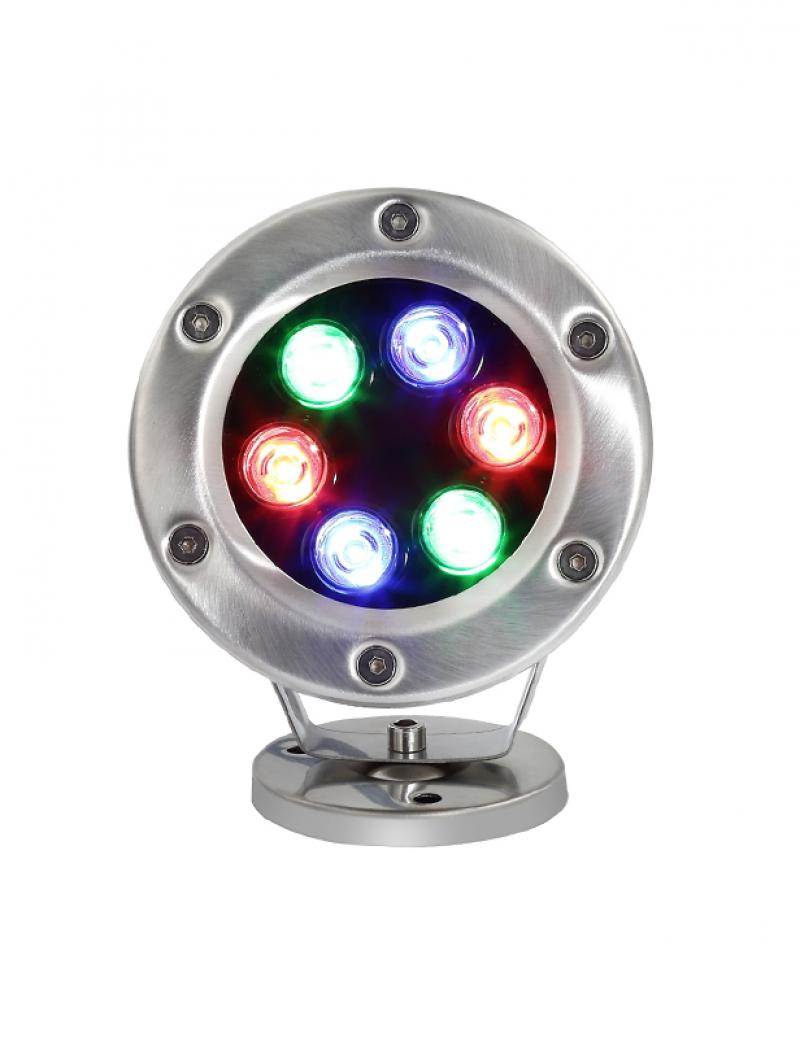 Светильник подводный  D90 RGB (полноцветные) DC12-24V угол 80 гр. 4W  D87x28мм, кабель 2м (Низковольтный)