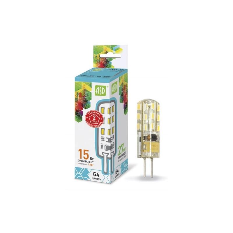Лампа светодиодная LED-JC-standard 1.5Вт 12В G4 4000К 135Лм ASD