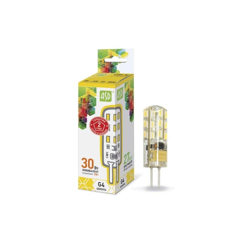Лампа светодиодная LED-JC-standard 3Вт 12В G4 3000К 270Лм ASD