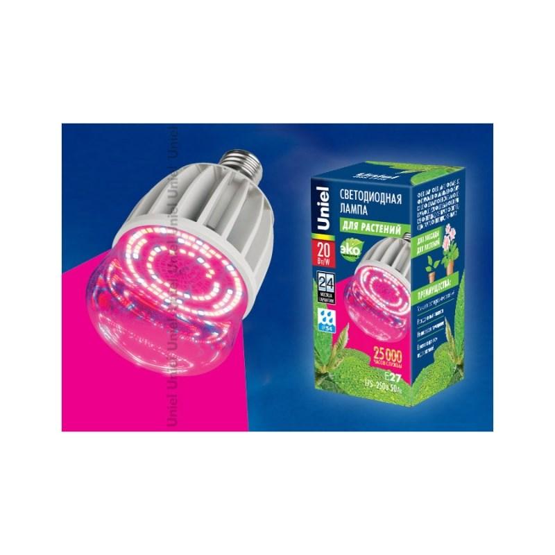 Лампа светодиодная для растений LED-M80-20W/SP/E27/CL ALS55WH