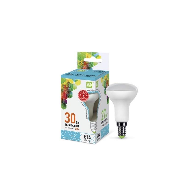 Лампа светодиодная LED-R50-standard 3Вт 230В Е14 4000К 270Лм ASD