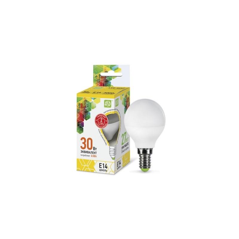 Шарообразная лампа светодиодная LED-ШАР-standard 3.5Вт 230В Е14 3000К 320Лм ASD