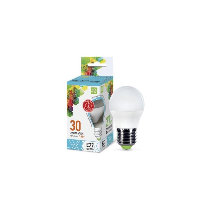 Шарообразная лампа светодиодная LED-ШАР-standard 3.5Вт 230В Е27 4000К 320Лм ASD