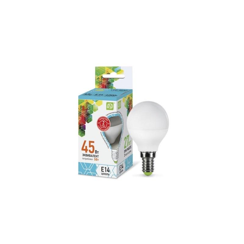Шарообразная лампа светодиодная LED-ШАР-standard 5Вт 230В Е14 4000К 450Лм ASD