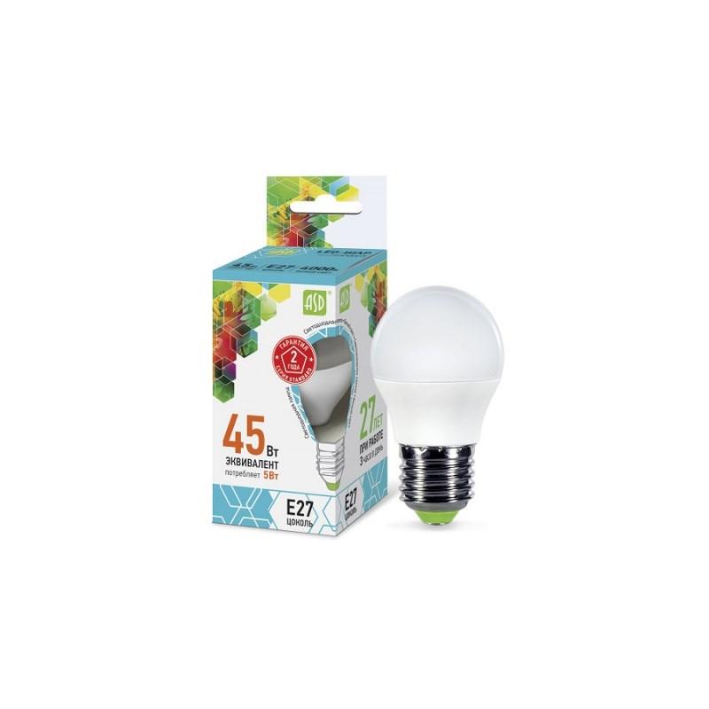 Шарообразная лампа светодиодная LED-ШАР-standard 5Вт 230В Е27 4000К 450Лм ASD