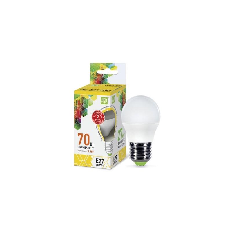 Шарообразная лампа светодиодная LED-ШАР-standard 7.5Вт 230В Е27 3000К 675Лм ASD