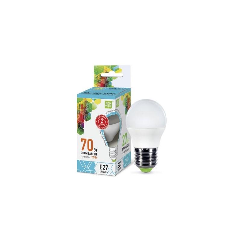 Шарообразная лампа светодиодная LED-ШАР-standard 7.5Вт 230В Е27 4000К 675Лм ASD