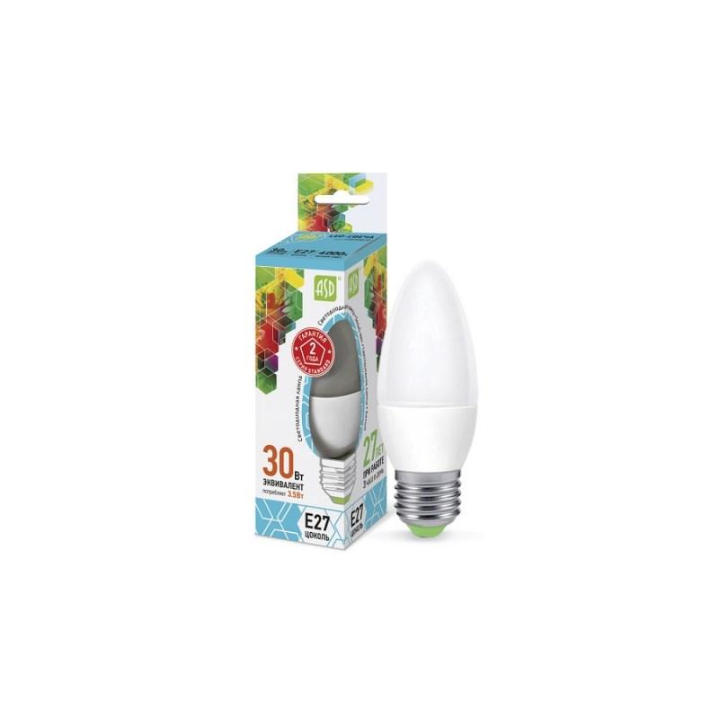 Лампа светодиодная LED-СВЕЧА-standard 3.5Вт 230В Е27 4000К 320Лм ASD
