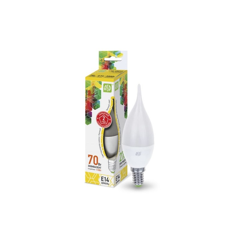 Лампа светодиодная LED-СВЕЧА НА ВЕТРУ-standard 7.5Вт 230В Е14 3000К 675Лм ASD