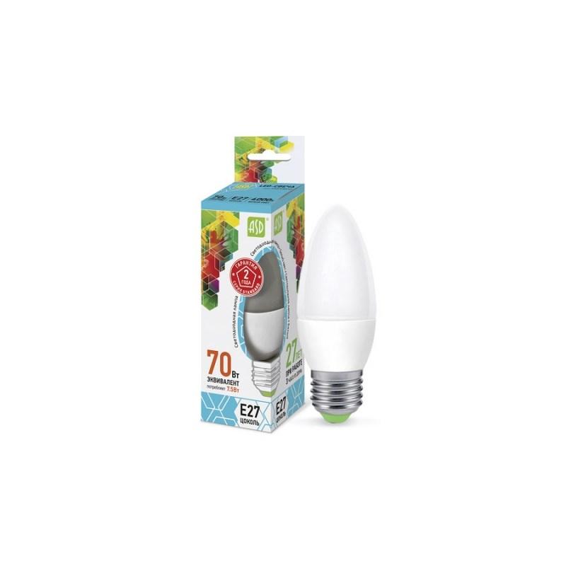 Лампа светодиодная LED-СВЕЧА-standard 7.5Вт 230В Е27 4000К 675Лм ASD