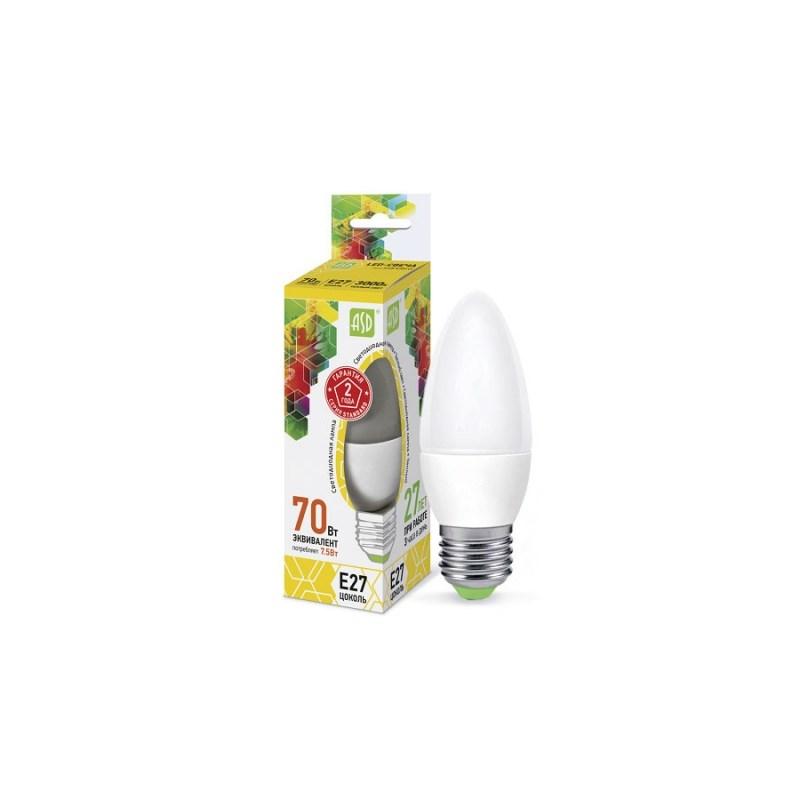 Лампа светодиодная LED-СВЕЧА-standard 7.5Вт 230В Е27 3000К 675Лм ASD