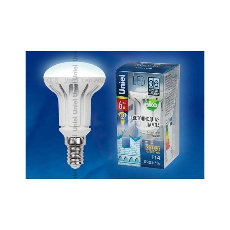 Лампа светодиодная Uniel Merli рефлектор LED-R50-6W/NW/E14/FR ALM01WH