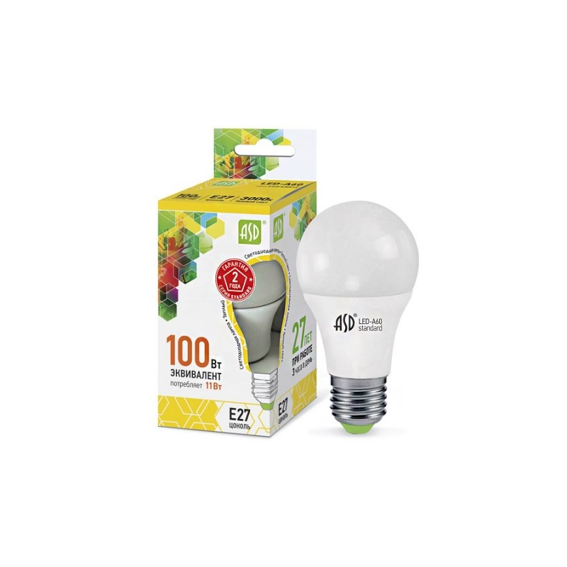 Лампа светодиодная LED-A60-standard 11W 230В Е27 3000К 990Lm  ASD