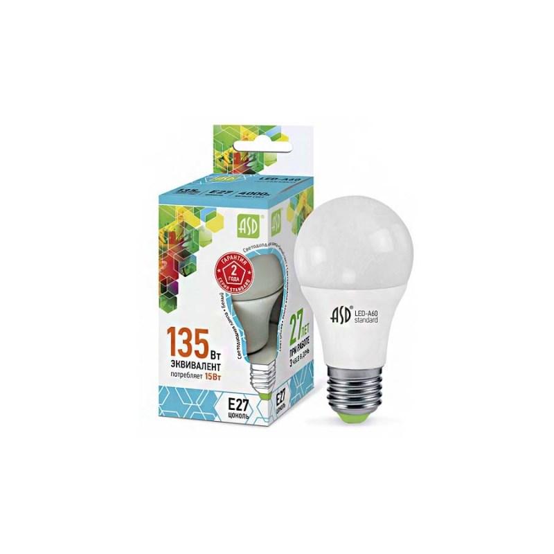 Лампа светодиодная LED-A60-standard 15W  230В Е27 4000К 1350Lm  ASD