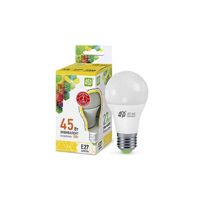 Лампа светодиодная LED-A60-standard 5W 230В Е27 3000К 450Lm  ASD