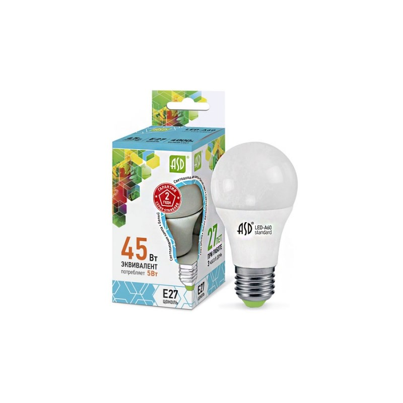 Лампа светодиодная LED-A60-standard 5W 230В Е27 4000К 450Lm  ASD