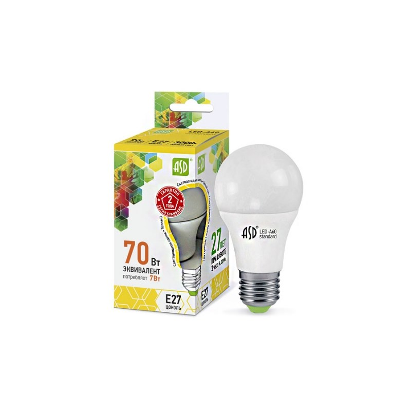 Лампа светодиодная LED-A60-standard 7W 230В Е27 3000К 630Lm  ASD